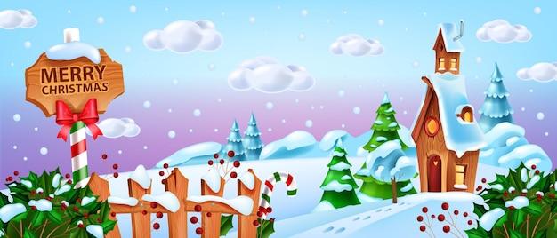 Kerst winterlandschap vector sneeuw santa claus dorpshuis achtergrond noordpool cartoon weergave