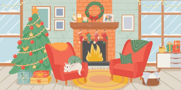 Kerst woonkamer interieur. nieuwjaarshuisdecoratie, kerstboomgeschenkdozen, hond en open haard met sokken. gezellige winterse vectorscène. kerstmis en nieuwjaar open haard, vakantie interieur illustratie