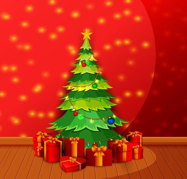 Kerst woonkamer met versierde kerst