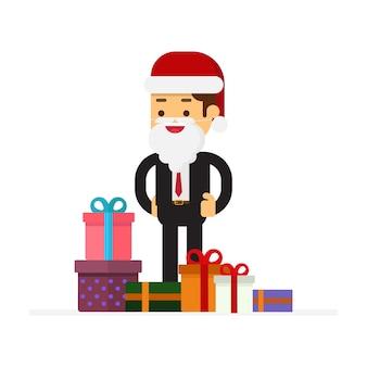 Kerst zakenman cartoon karakter vector ontwerp