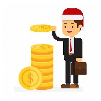 Kerst zakenman zet geld munten in een stapel