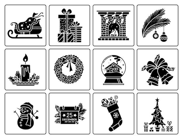 Kerst zwarte glyph iconen set