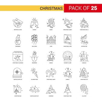 Kerst zwarte lijn pictogram - 25 zakelijke overzicht icon set