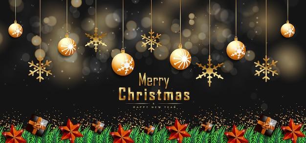 Kerstachtergrond met gouden kerstballen of bubbels en geschenkdoos premium vector