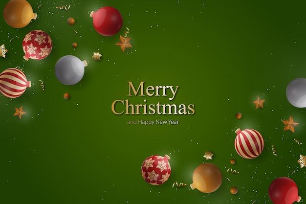 Kerstachtergrond met realistische glazen bolornamenten. vector illustratie.