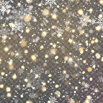 Kerstachtergrond met vallende sneeuwvlokken op transaprent. vector