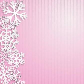 Kerstachtergrond met witte sneeuwvlokken op roze strepen