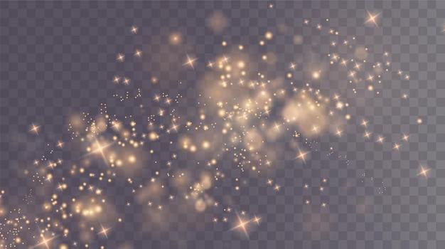 Kerstachtergrond poeder png magisch glanzend goudstof fijn glanzend stof bokeh deeltjes vallen