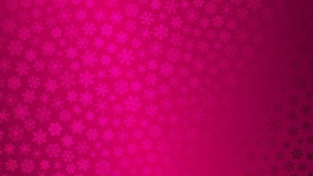 Kerstachtergrond van kleine sneeuwvlokken in roze kleuren