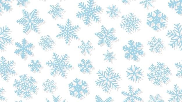 Kerstachtergrond van sneeuwvlokken in verschillende vormen en maten met schaduwen. lichtblauw op wit