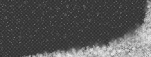 Kerstachtergrond van sneeuwvlokken in verschillende vormen, maten, vervaging en transparantie op transparante achtergrond