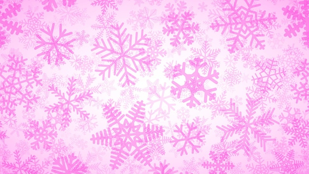 Kerstachtergrond van vele lagen sneeuwvlokken in verschillende vormen, maten en transparantie. roze op wit