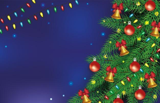 Kerstaffiche en banner versierd met ballen