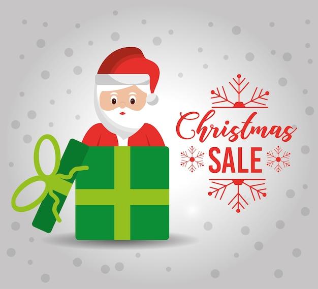 Kerstaffiche met een leuke gift van de kerstman voor verkoop banner