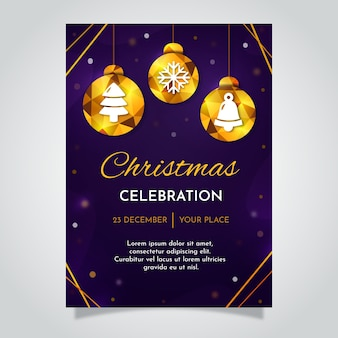 Kerstaffiche met gouden bollen in veelhoekige stijl