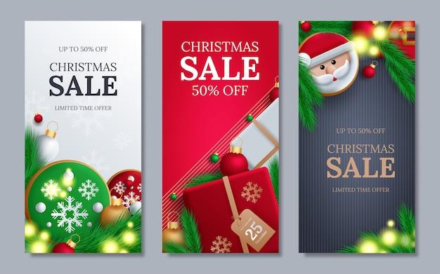 Kerstaffiche met kleurrijke elementen en vrolijke kerstgroet tekst in een lege ruimte.