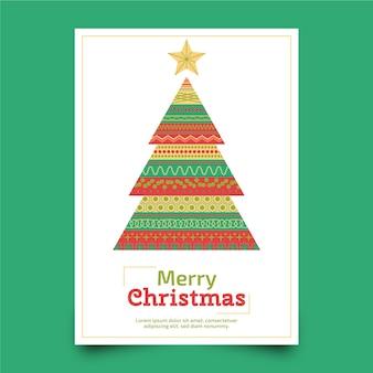 Kerstaffiche met kleurrijke geometrische vormen sjabloon