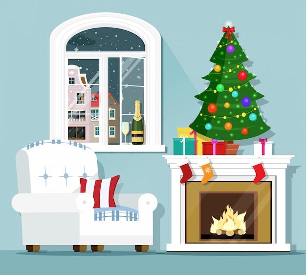 Kerstavond concept. stijlvol grafisch kamerinterieur: fauteuil, kerstboom, open haard en raam met winterlandschap. vlakke stijl illustratie.