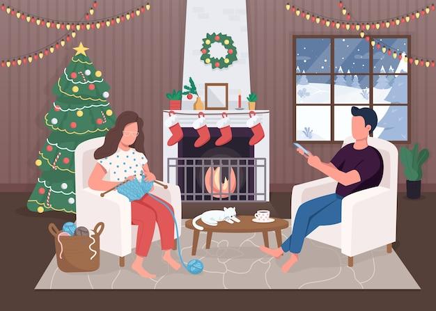 Kerstavond egale kleur. groenblijvende boom. hygge leven. zitten bij open haard. rustige 2d stripfiguren met traditioneel ingerichte kerst huis interieur op achtergrond