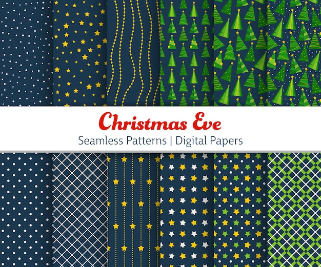Kerstavond naadloze patroon. vector illustratie achtergronden met kerstbomen, stippen, strepen, cheques, voor behang, wenskaart, poster, uitnodiging, webbanner.