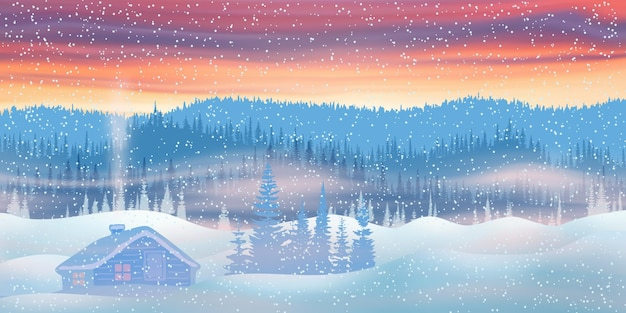 Kerstavond, zonsonderganglicht en bergtaiga, hut tussen de sneeuwbanken