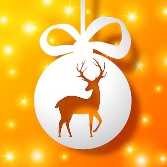 Kerstbal hert silhouet en lichteffecten