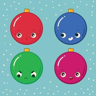 Kerstbal kleurrijke set emoticons Premium Vector