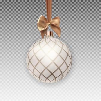Kerstbal met bal en lint op transparante achtergrond vectorillustratie eps10