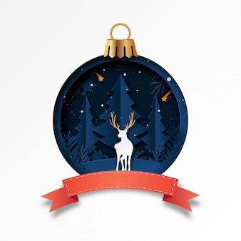 Kerstbal met witte herten en winter bos wenskaartsjabloon papier gesneden stijl