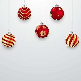 Kerstbal ontwerp 3d rood en goud