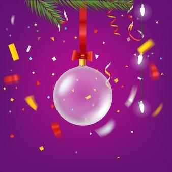 Kerstbal op kerstboom. wenskaartsjabloon