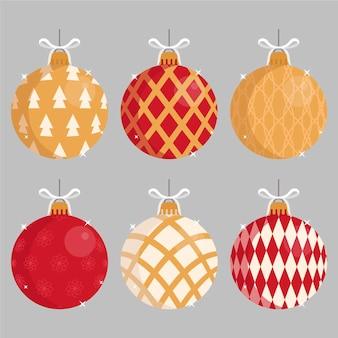 Kerstbal ornamenten in plat design