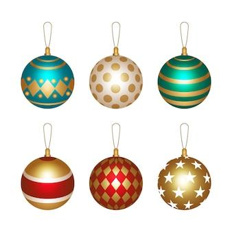 Kerstbal ornamenten realistische stijl