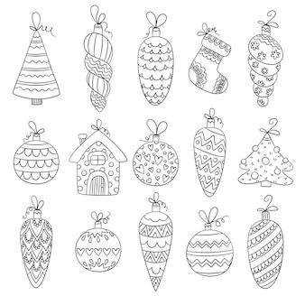 Kerstballen. decoratief winterseizoen speelgoed sterren sneeuwvlokken ballen vector grappige schetsafbeeldingen. illustratie kerst glas speelgoed kegel, snuisterij tekening