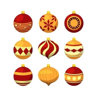 Kerstballen in plat ontwerp