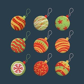 Kerstballen in verschillende ontwerpen hand getrokken