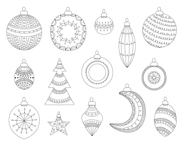 Kerstballen. kerstboomdecoraties instellen.