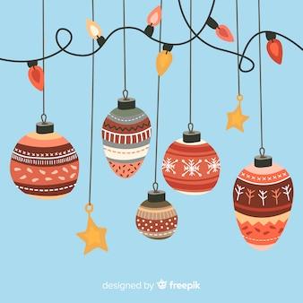 Kerstballen lichten achtergrond