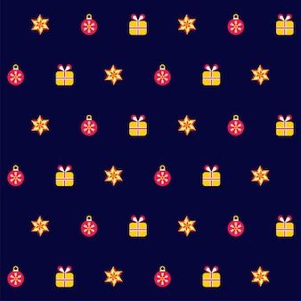 Kerstballen met geschenkdozen en sterren versierd op een blauwe achtergrond.