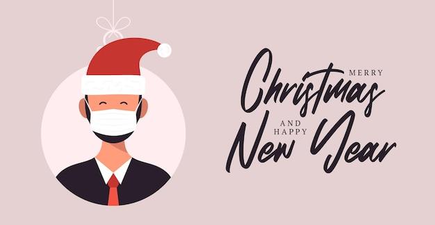 Kerstballen met schattige persoon karakter man in kerstmuts. prettige kerstdagen en gelukkig nieuwjaar wenskaart banner cartoon wintervakantie set
