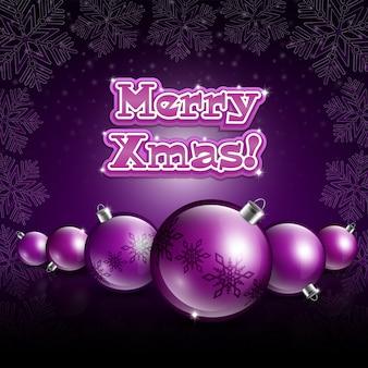 Kerstballen op donkere violette achtergrond
