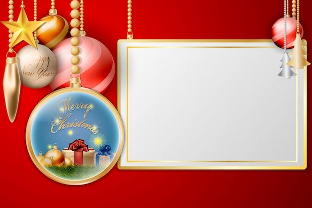 Kerstballen opknoping decoratie met gouden frame