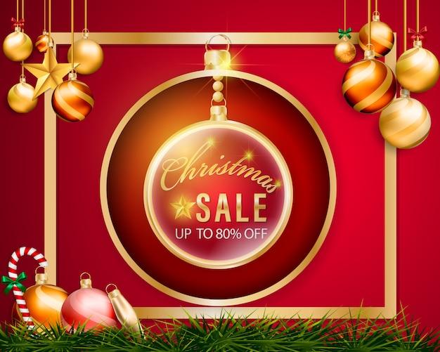 Kerstballen opknoping verkoop banner en gouden frame op rode achtergrond.