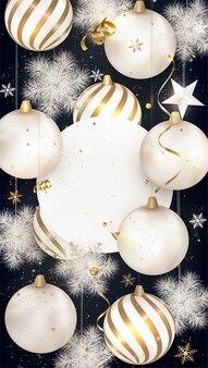 Kerstballen, sjabloon voor verticale spandoek