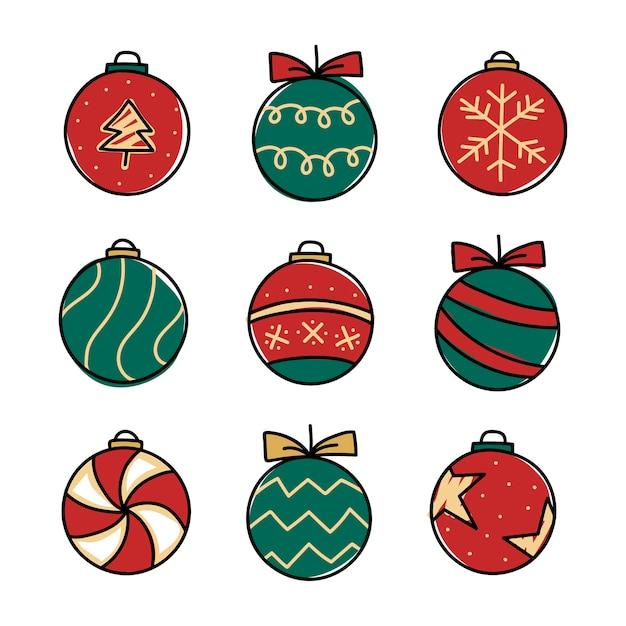 Kerstballen tekening doodle stijl
