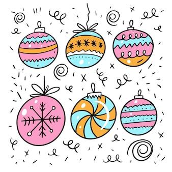 Kerstballen wintervakantie. kleurrijke doodle geïsoleerd op een witte achtergrond.