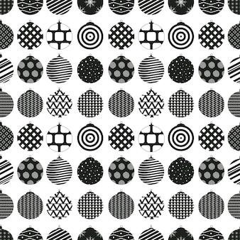 Kerstballen zwart en wit. naadloos patroon op een witte achtergrond. de sjabloon voor het nieuwe jaar. vector illustratie.