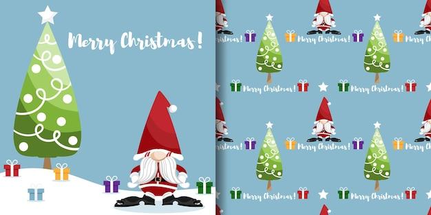 Kerstbanner en naadloos patroon van de kerstman met geschenkdozen en kerstboom