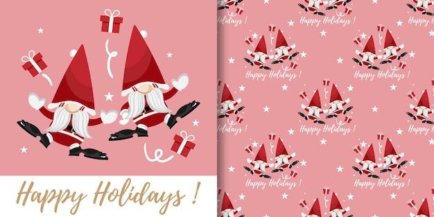 Kerstbanner en naadloos patroon van kerstman geschenkdozen en sterren op roze achtergrond
