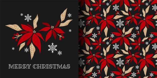 Kerstbanner en naadloos patroon van poinsettia bloemtakken decoratief
